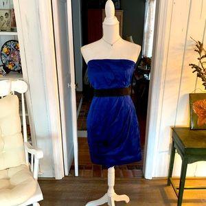 Express Royal Blue Satin Strapless Cocktail Dress